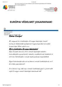 európai védelmet jogainknak